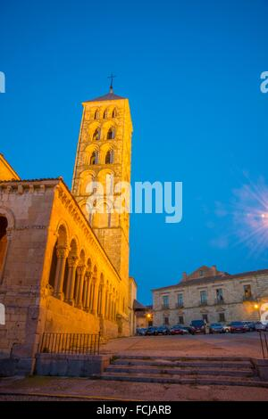 San Esteban church, night view. Segovia, Spain. - Stock Photo
