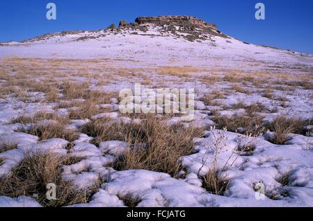 Small butte along Daemonelix Trail, Agate Fossil Beds National Monument, Nebraska. - Stock Photo