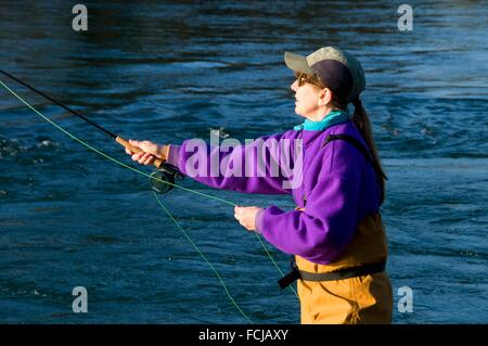 Flyfishing on McKenzie River, Power Canal EWEB Access Site, Lane County, Oregon. - Stock Photo