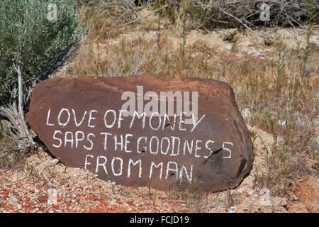 Guru folk saying rock, Guru Road, Gerlach, Nevada. - Stock Photo