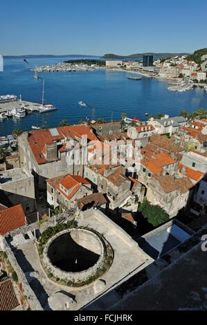 view over the city with, in the forground, the former dome of the Vestibule of Diocletian´s Palace, Split, Croatia, - Stock Photo