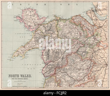 NORTH WALES: showing divisions & parliamentary boroughs. PHILIP, 1902 old map - Stock Photo