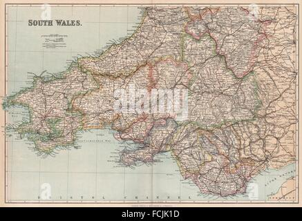 SOUTH WALES: showing divisions & parliamentary boroughs. PHILIP, 1902 old map - Stock Photo