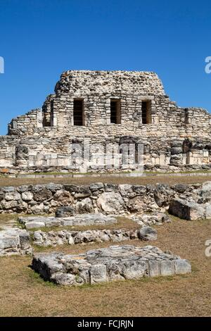 Templo de los Guerreros, Mayapan Mayan Archaeological Site, Yucatan, Mexico - Stock Photo