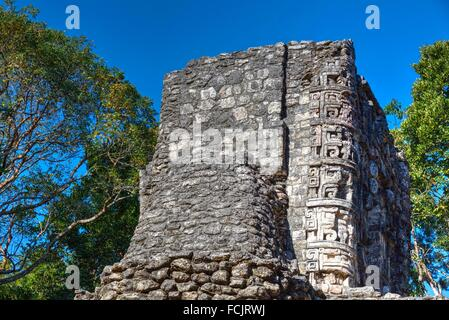 Hormiguero Mayan Archaeological Site, Rio Bec Style, Campeche, Mexico - Stock Photo