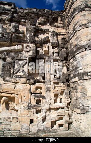 Stone Sculptures, Hormiguero Mayan Archaeological Site, Rio Bec Style, Campeche, Mexico - Stock Photo