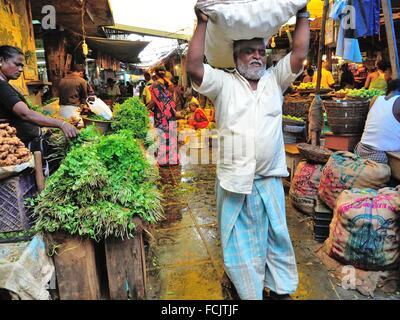 main market, Pondicherry (Puducherry), India. - Stock Photo