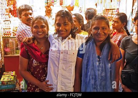 teenage girls at main market, Pondicherry (Puducherry), India. - Stock Photo