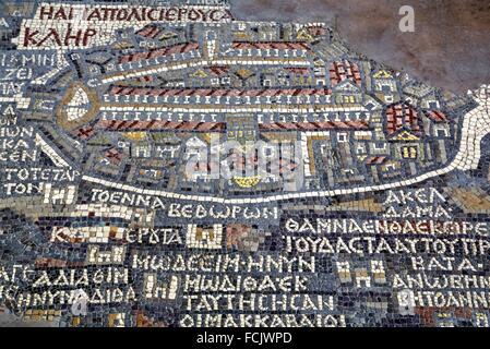 Oldest Map of Palestine, Mosaic, Dated AD 560, St George´s Church, Madaba, Jordan - Stock Photo