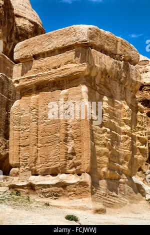 Djinn Blocks, Dates from 50 BC to 50 AD, Petra, Jordan - Stock Photo