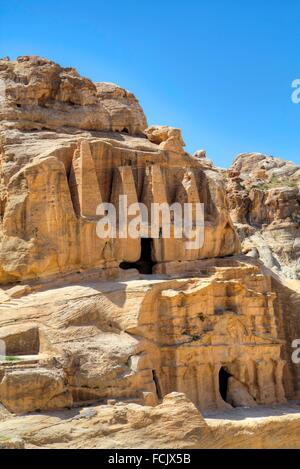 Obelisk Tomb (upper structure), Bab as-Sig Triclinium (lower Structure), Petra, Jordan - Stock Photo