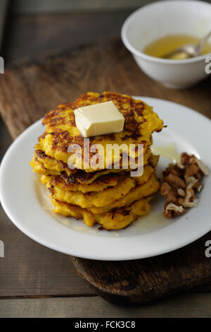 stack of pumpkin pancakes, food closeup - Stock Photo