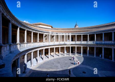 The Palace of Charles V is a Renaissance building in Granada, southern Spain, located on the top of the hill of - Stock Photo
