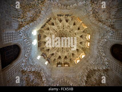 Arabesques in the Nasrid Palaces of the Alhambra of Granada, Andalusia, Spain - Stock Photo