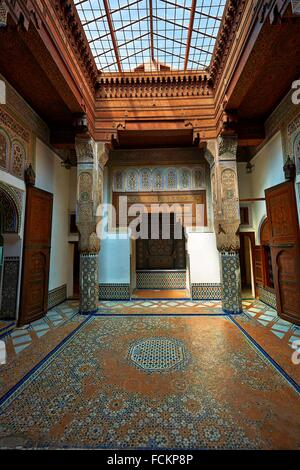 Arabesque Moorish plasterwork and zellij mosaics of the Dar Jamai Museum a typical dwellings of high Moroccan bourgeoisie - Stock Photo