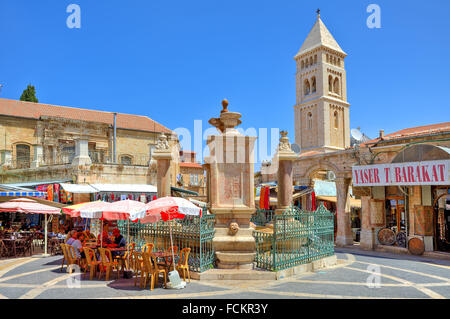 Muristan fountain at center of square in Christian Quarter in Jerusalem, Israel. - Stock Photo