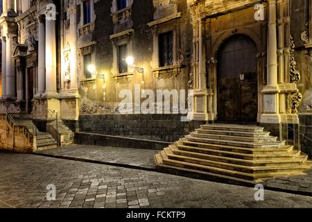 Europe, Italy, Sicily, Catania, old town, Via Crociferi, on right Ex-Collegio dei Gesuiti, on left Chiesa San Francesco - Stock Photo