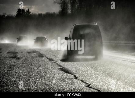 Europe, Germany, Saxony, traffic on highway 72 - Stock Photo