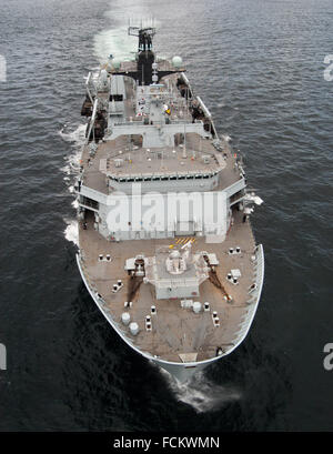 Aerial view of the Royal Navy assault ship HMS Albion - Stock Photo