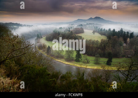 The mist rises above the River Tweed at Scott's View with the Eildon Hills in the background. Scotland's Borderland. - Stock Photo