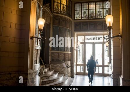 Hôtel Gresham, entrance hall in Art Nouveau style, Brussels, Belgium, Europe - Stock Photo