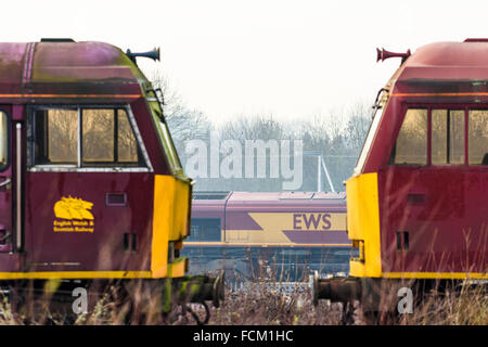 Driving cabs of two class 60 diesel locos at Toton depot in Nottinghamshire - Stock Photo