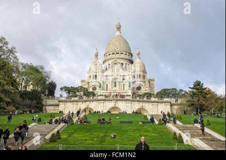 Basilique du Sacré Coeur de Montmartre, Paris, France, Europe. - Stock Photo