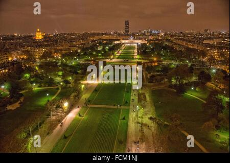 Aerial Night view of Paris from Eiffel Tower, France, Europe. - Stock Photo