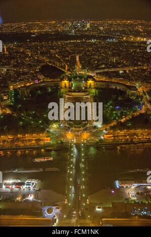 Aerial Night view of Paris from Eiffel Tower, Trocadero, France, Europe. - Stock Photo