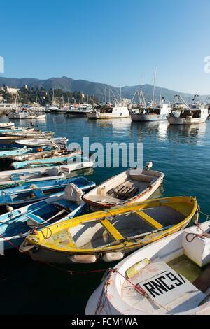 Fishing boats moored in the harbour of Santa Margherita Ligure, Genova, Liguria, Italy, Europe. - Stock Photo