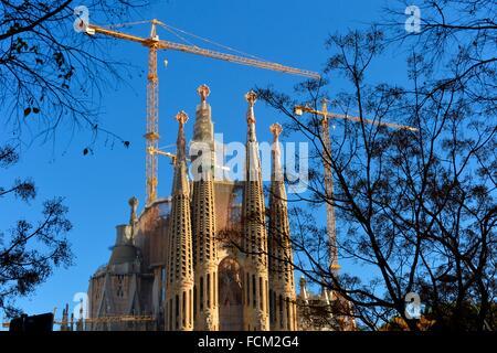 the Catholic basilica La Sagrada Familia designed by Antoni Gaudi in Barcelona, Catalonia, Spain. - Stock Photo