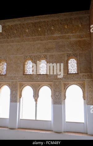 Palacios Nazaries, The Alhambra, Granada, Andalusia, Spain. - Stock Photo