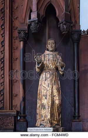 San Francisco Solano in the Iglesia Catedral de la Santisima Trinidad interior details. Located in the Plaza Mayor, - Stock Photo