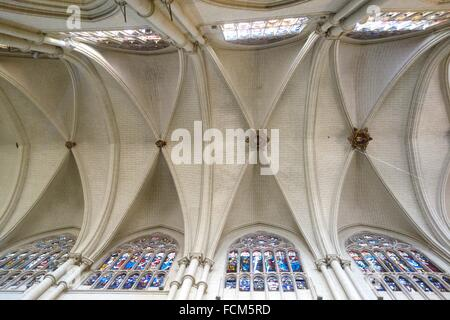Ceiling and Stained Glass Windows, Cathedral, Toledo, Spain. - Stock Photo
