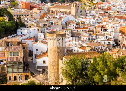 Tossa de Mar village in the afternoon, Costa Brava, Catalonia - Stock Photo