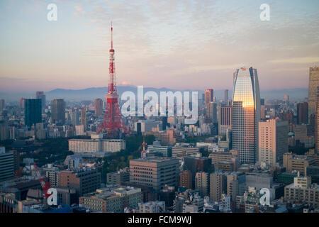 View of Tokyo Tower and Mount Fuji at sunrise, Tokyo Japan - Stock Photo
