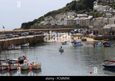 Summer in Mousehole, harbour and waterfront, Cornwall, England, UK. - Stock Photo