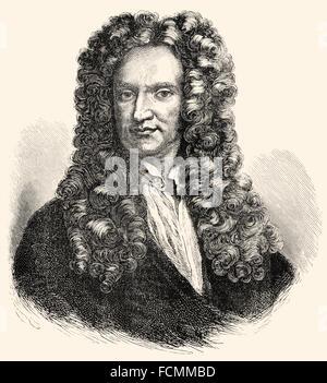 ir Isaac Newton, 1642-1726, an English physicist and mathematician - Stock Photo