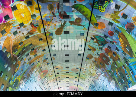 Markthal market hall ceiling Rotterdam, the Netherlands - Stock Photo