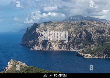View from Sa Dragonera Natural Park to the coastline of Mallorca Balearic Islands Spain, Andratx - Stock Photo