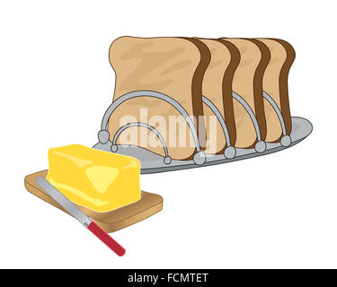 an illustration of a metal toast rack with four slices of toast and a wooden board with a slab of butter and a knife - Stock Photo