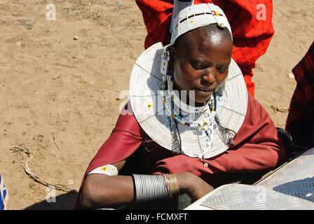 Masai woman, Ngorongoro Conservation Area, Tanzania, East Africa. - Stock Photo