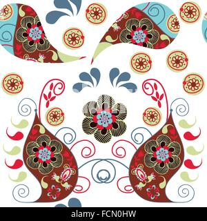 Paisley colorful  odd seamless pattern and seamless pattern in swatch menu, vector illustration. Cute texture - Stock Photo