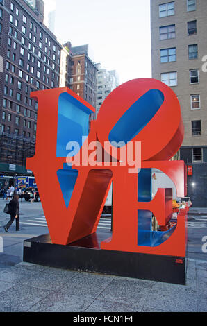 New York: Love sculpture,an iconic Pop Art work by american artist Robert Indiana - Stock Photo