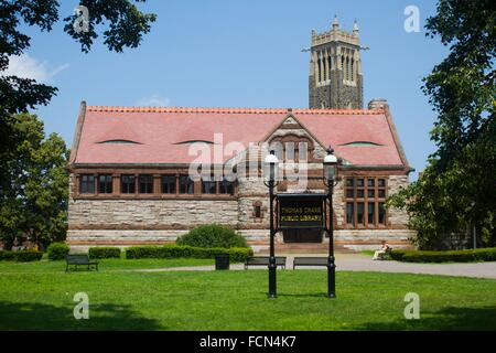 Front full view of The Thomas Crane Public Library. It is a city library in Quincy, Massachusetts. It is a memorial - Stock Photo