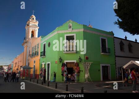 Templo del Ex-Hospital de San Roque Church in yown center, Puebla, Puebla State, Mexico, Central America. - Stock Photo