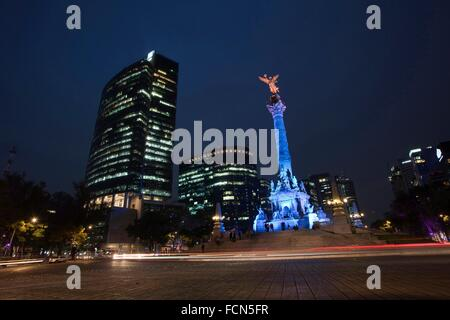 Angel statue, Independence Monument in Avenida de la Reforma, Mexico City, Mexico, Central America. - Stock Photo