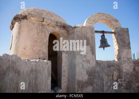 Bell of Baluerte de Santa Rosa, historic fort at the center of Campeche, Campeche, Yucatan, Mexico, Central America. - Stock Photo
