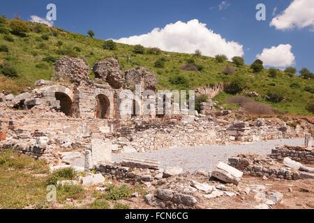 Baths of Various in Upper Agora at the Roman ruins of Ephesus, Efes, Selcuk, Kusadasi, Turkey, Europe. - Stock Photo