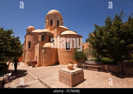 View to the monastery Agia Triada peninsula Akrotiri ...